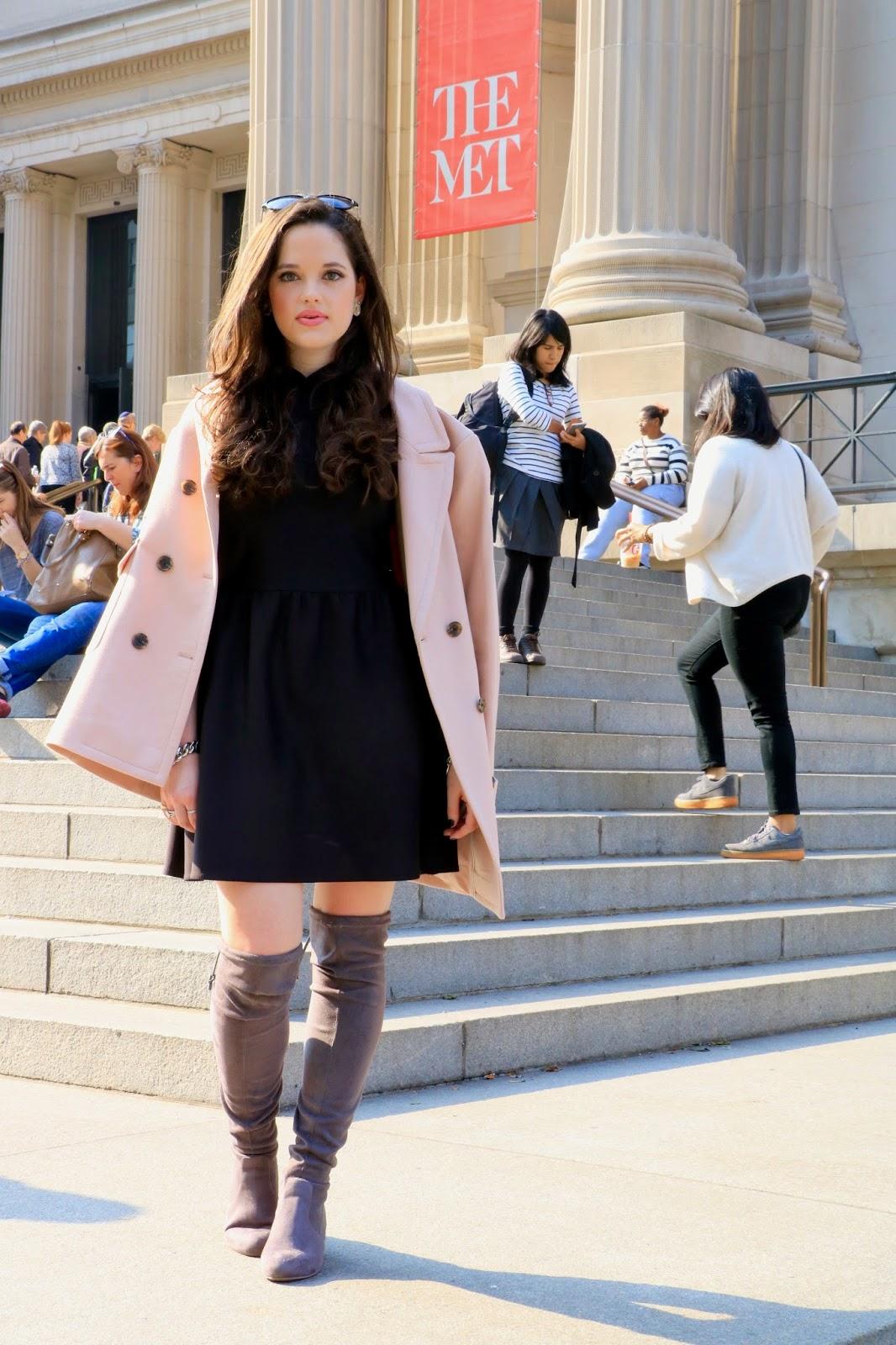 pink coat blogger