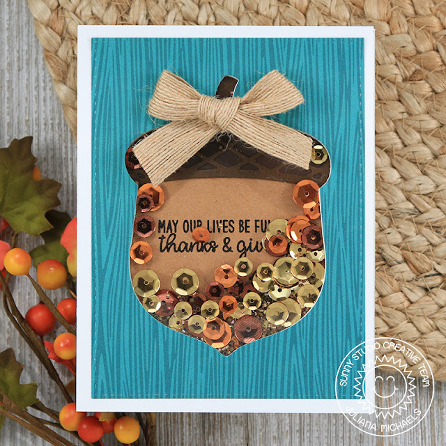 Sunny Studio Stamps: Nutty For You Happy Harvest Sequin Filled Acorn Shaker Card by Juliana Michaels