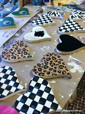 hand painted wooden heart cut outs