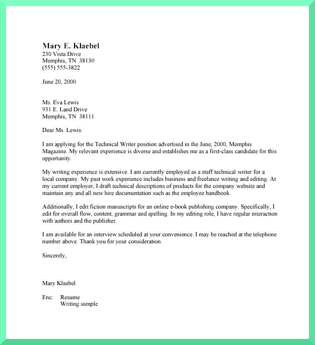 business cover letter template