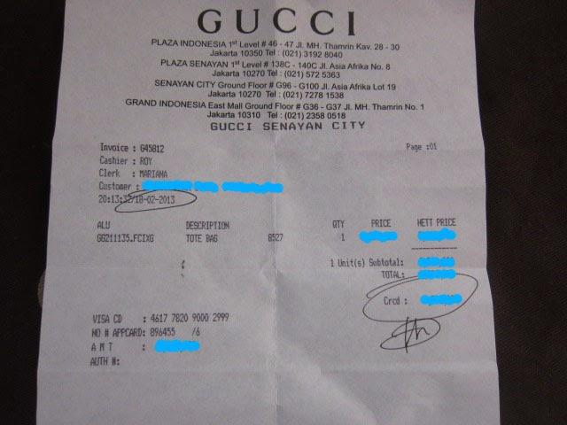 Satchi Gucci Unisex Tote Canvas Receipt 2013
