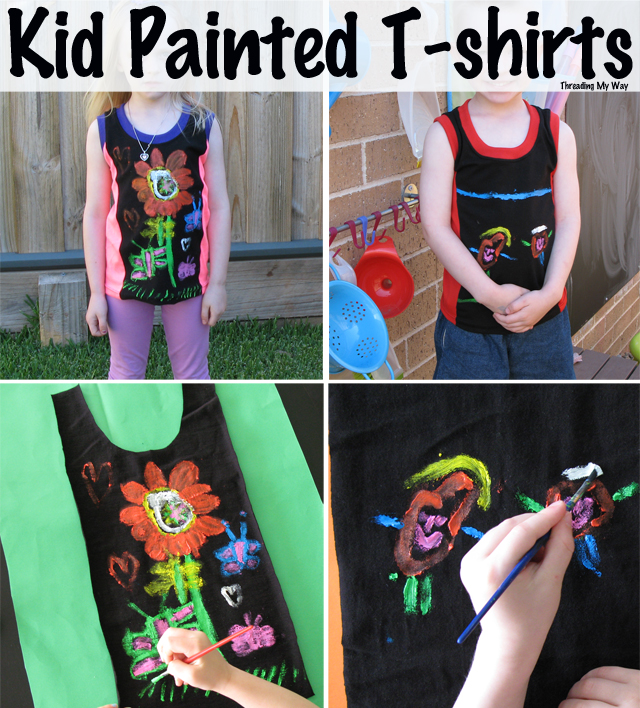 Kid Painted T-shirts... make a t-shirt, with a few pieces of knit material and some fabric paint ~ Threading My Way