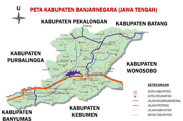 Gambar Peta Kabupaten Banjarnegara Jawa Tengah Lengkap 20 Kecamatan