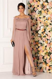 Rochie Ginette lunga din matase roz prafuit cu floricele la decolteu