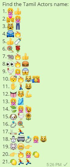 Find The Tamil Actors Name Whatsapp Emoji Quiz Puzzles World