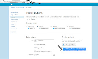 cara pasang tombol follow twitter di blog