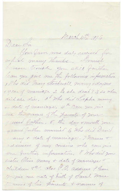 1876 Letter from Cyrus M. Stockwell to a Relative re: Research for a Work on the Stockwell Family
