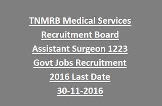 TNMRB Medical Services Recruitment Board Assistant Surgeon 1223 Govt Jobs Recruitment 2016 Last Date 30-11-2016