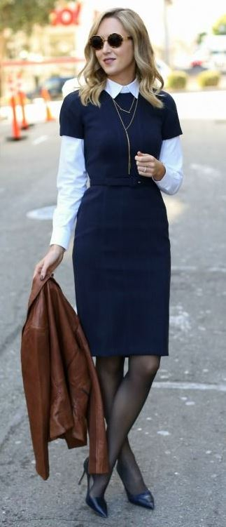 NAVY SHEATH DRESS + LEATHER MOTO JACKET