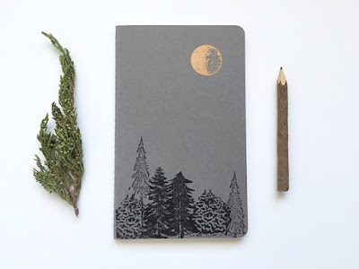 Moon and Trees Letterpress Moleskine Journal by Runaway Press