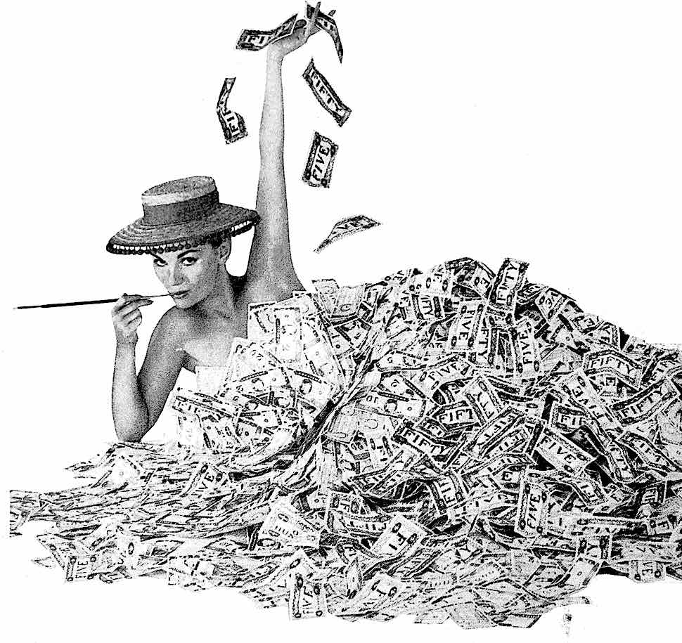 1960 new money winfall, a woman swimming in cash