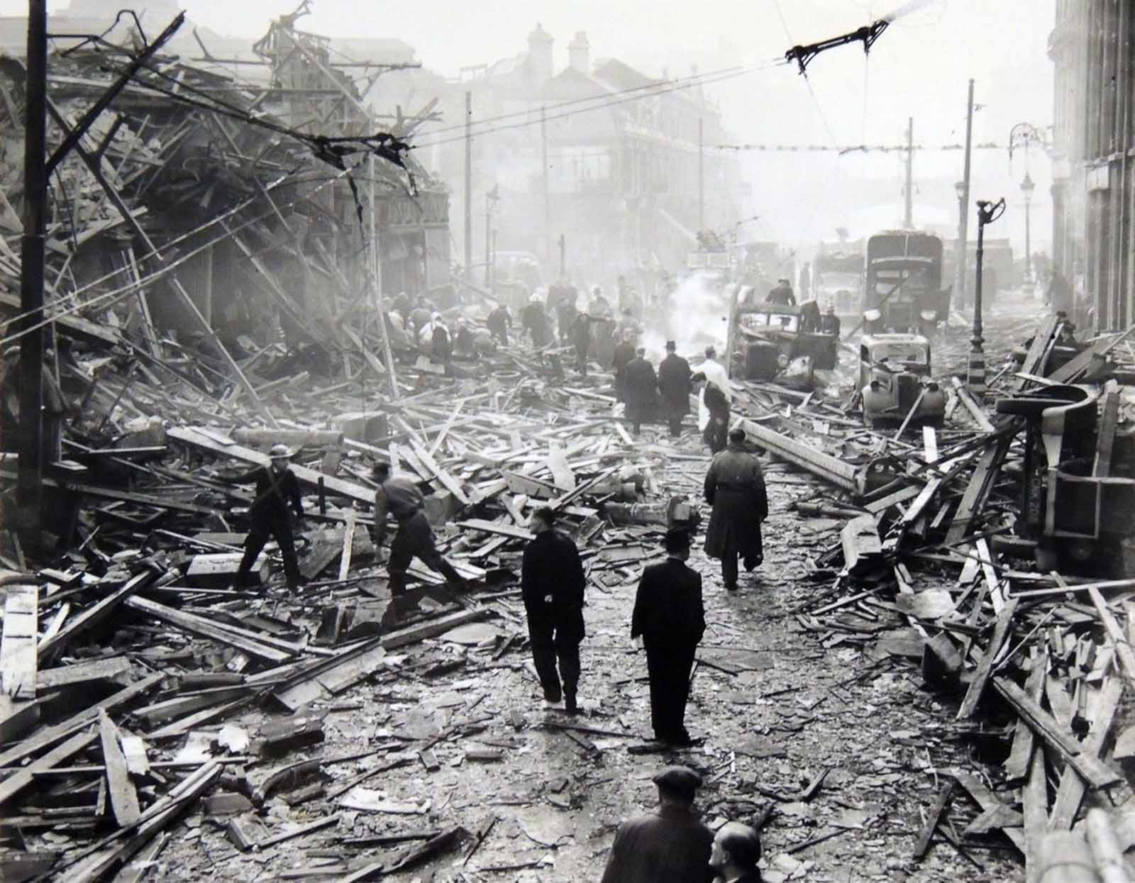 The aftermath of a V-2 strike in London. 1941.
