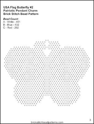Free brick stitch seed bead Pendant pattern letter chart.