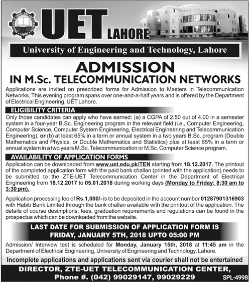 Admissions in University of Engineering and Technology - UET Lahore