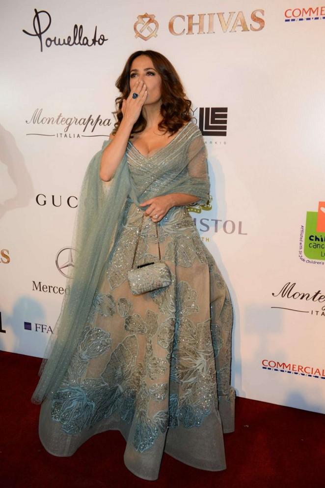 Hollywood Actress Long Hair Green Dress Salma Hayek