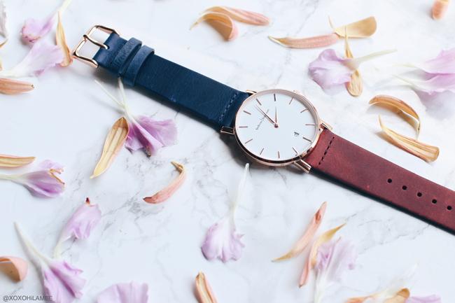 日本人ファッションブロガー,Mizuho K,NewInネイビー -ダークレッドベルトの時計,Oslo Andreas Ingeman ミニマルで綺麗な時計