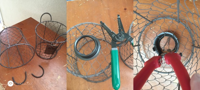 making light cage from a wire basket