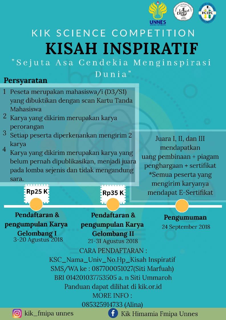 Kompetisi Penulisan Kisah Inspiratif KIK Science Competition (KSC) 2018