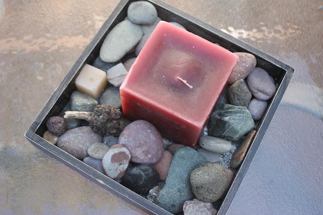 coleccion de piedras centro de mesa