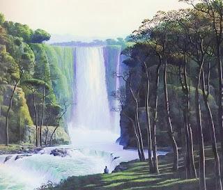 paisajes-con-cascadas-arte-natural pinturas-oleo-vistas-cascadas