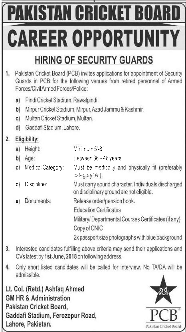 Jobs In Pakistan Cricket Board PCB for Security Guard May 2018
