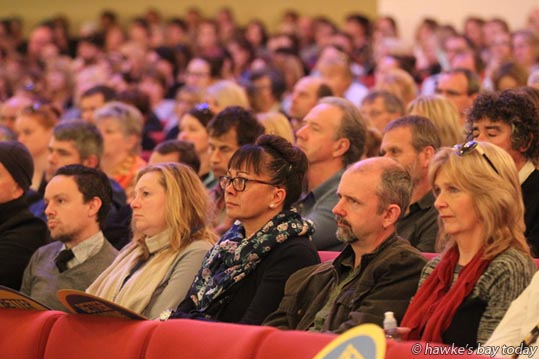 """The biggest cost is to our children."" About 900 people attended a PPTA and NZEI meeting about school funding at the Napier Municipal Theatre in Napier. photograph"