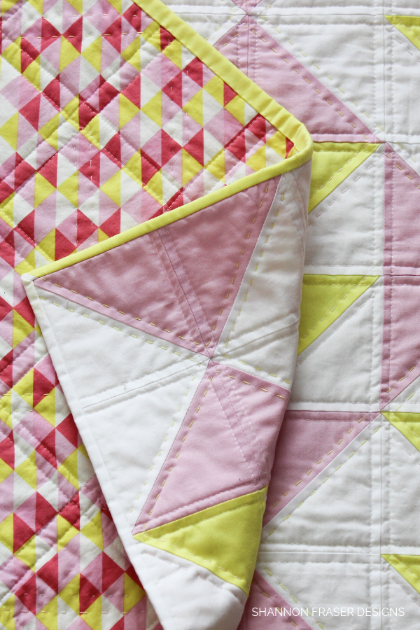 Baby Pink Lemonade Quilt hand quilted detail