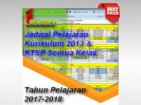 Contoh Jadwal Pelajaran Kurikulum 2013 dan KTSP Tahun Pelajaran 2017/2018 Semester 1 Semua Kelas Jenjang SD