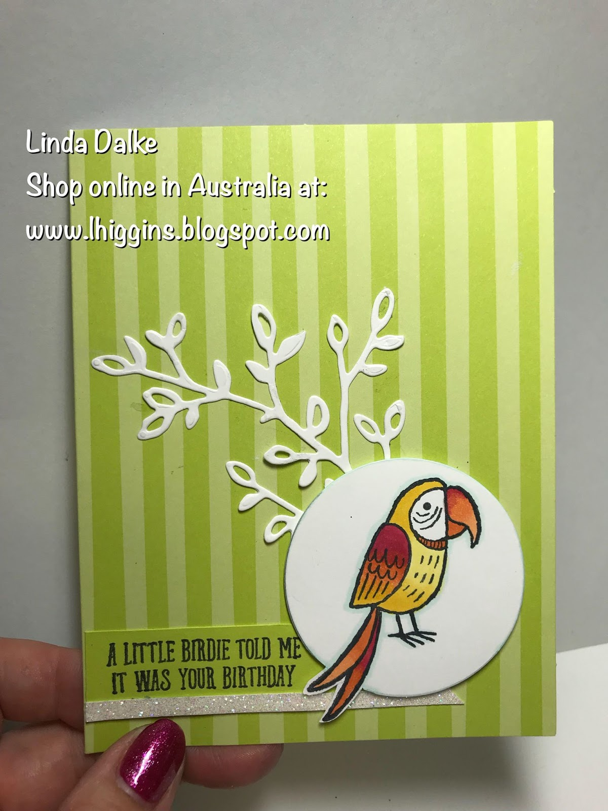 Linda Dalke Happy Card With Bird Banter And The Tutti Frutti Notecards