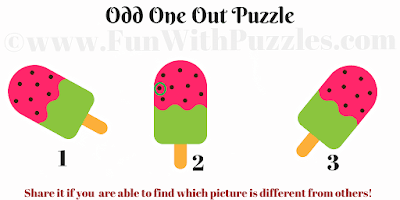 Odd One Out Ice-cream Picture Puzzle for Kids Answer
