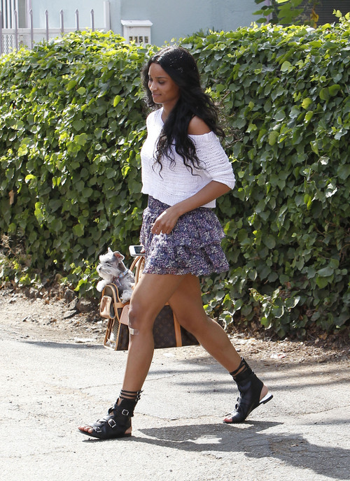 8d5bece95aa5 Ciara was spotted out in LA carrying her two dogs in a Louis Vuitton Dog  Carrier 50 bag ( 2
