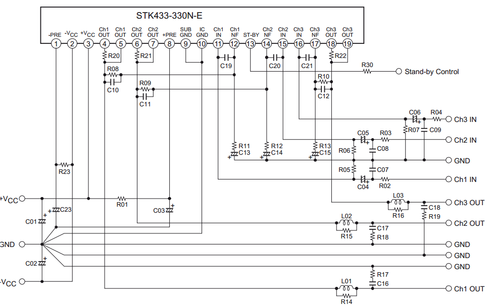 general description the stk433-330n-e is a hybrid ic designed to be used in  150 3 ch class ab audio power amplifier circuit diagram 3x150w audio power