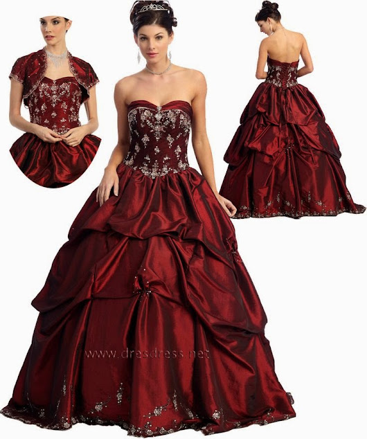 red quinceanera dress