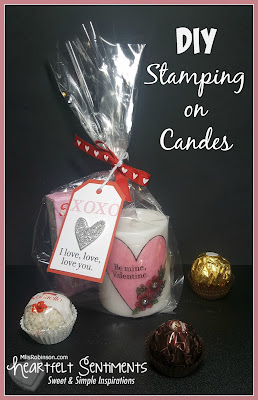 DIY Stamping on Candles, pictures and instructions for a fun and beautiful Valentine's Day project by Melissa of My Heartfelt Sentiments | Featured on www.BakingInATornado.com | #DIY #ValentinesDay