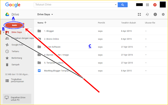 Petunjuk berserta Gambar Cara Membuat Folder di Google Drive