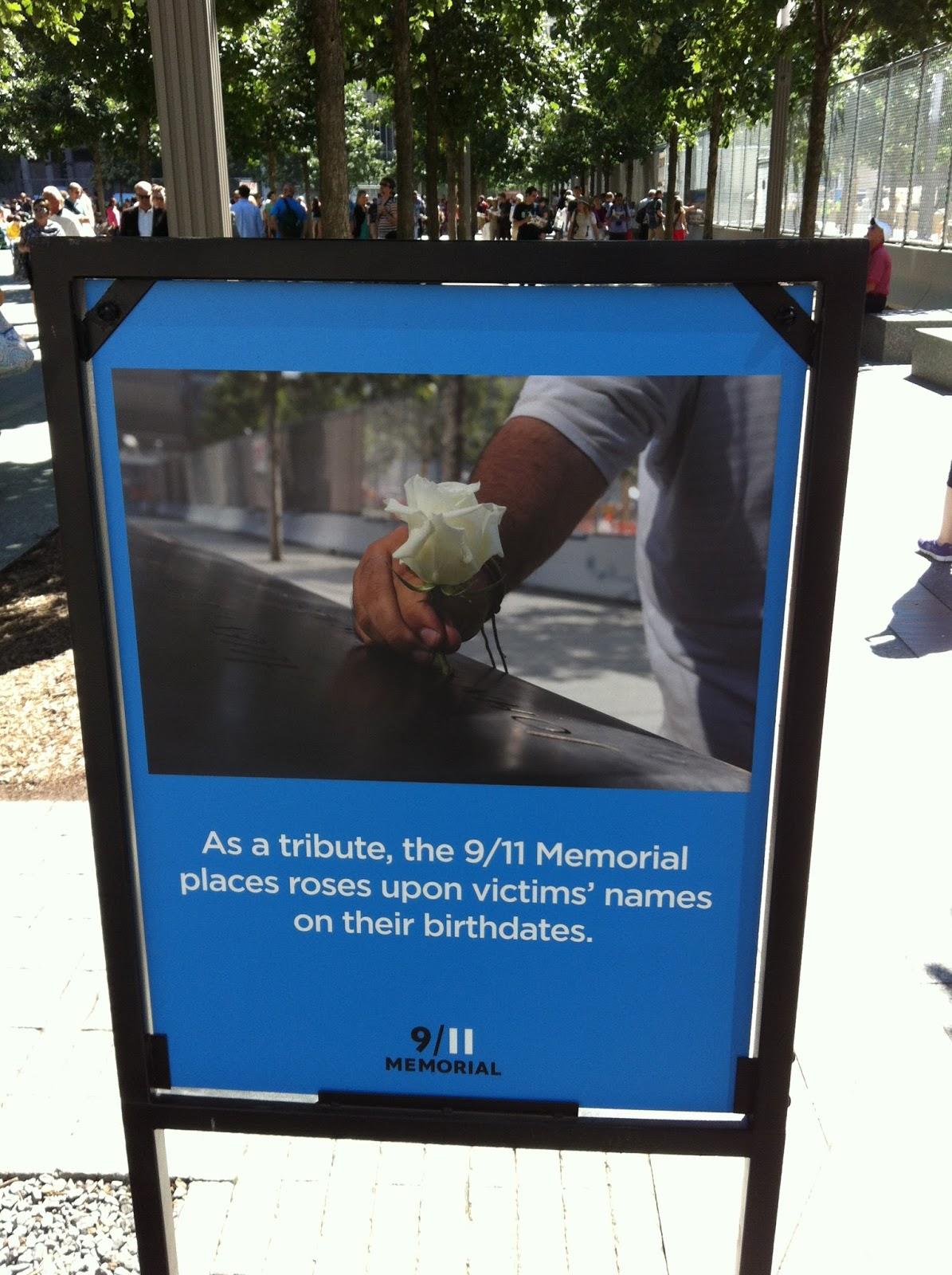 Sign at 9/11 Memorial New York City
