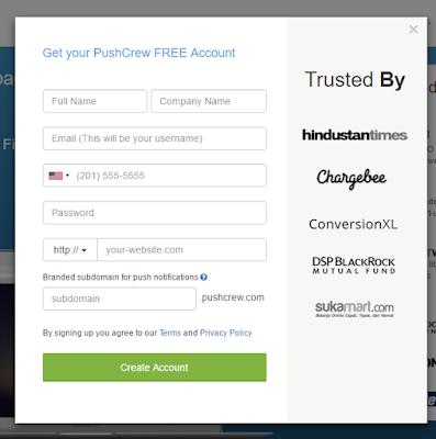 اضافة تنبيهات زوار موقعك الى مدونة بلوجر pushcrew