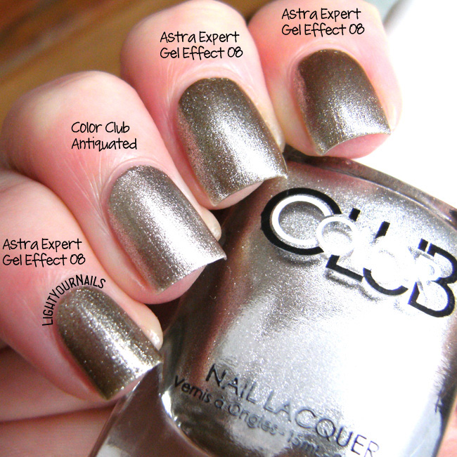 Astra Expert Gel Effect 08 Argent Sable vs Color Club Antiquated comparison