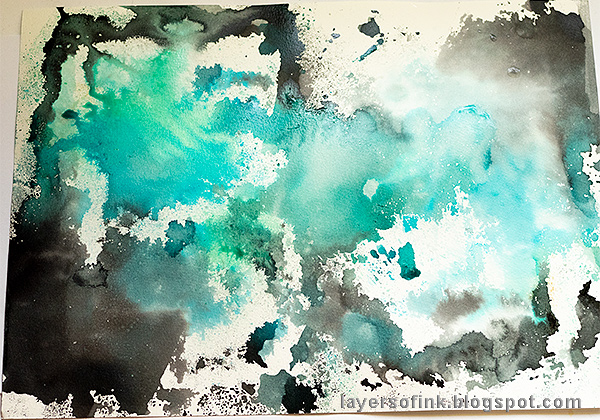 Layers of ink - Misted Galaxy Tutorial by Anna-Karin Evaldsson, inky background.