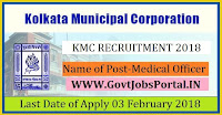 Kolkata Municipal Corporation Recruitment 2018- 39 Medical Officer