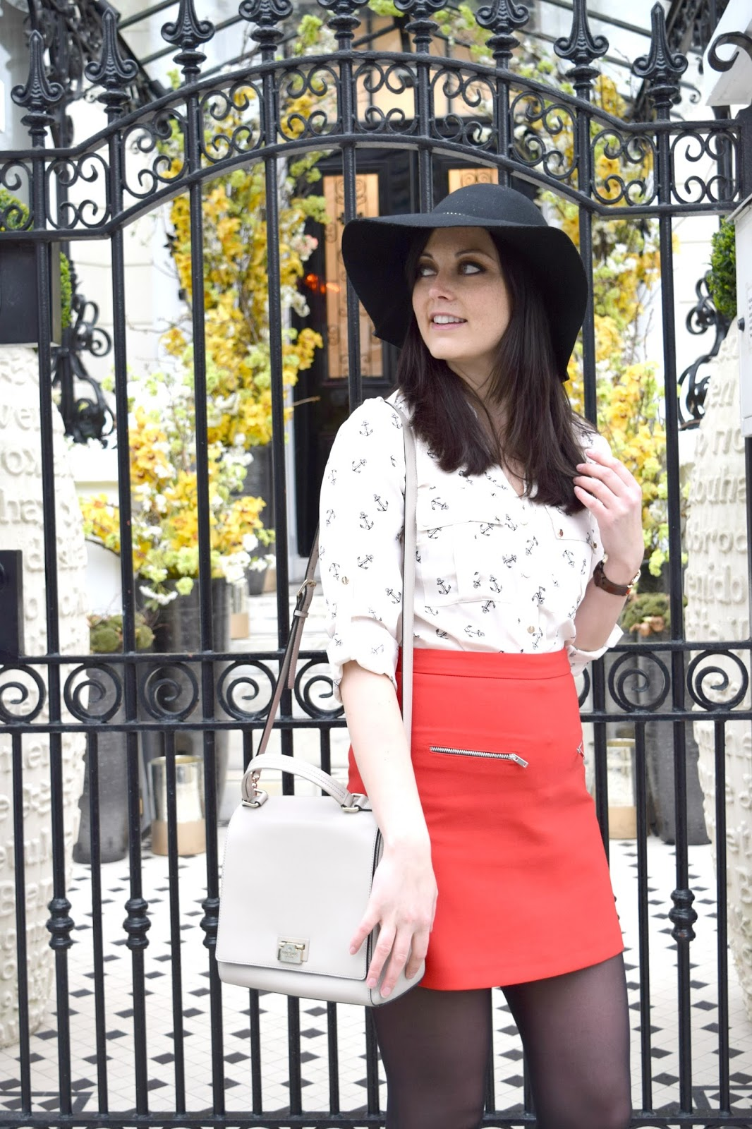 Zara skirt and Oasis anchor shirt