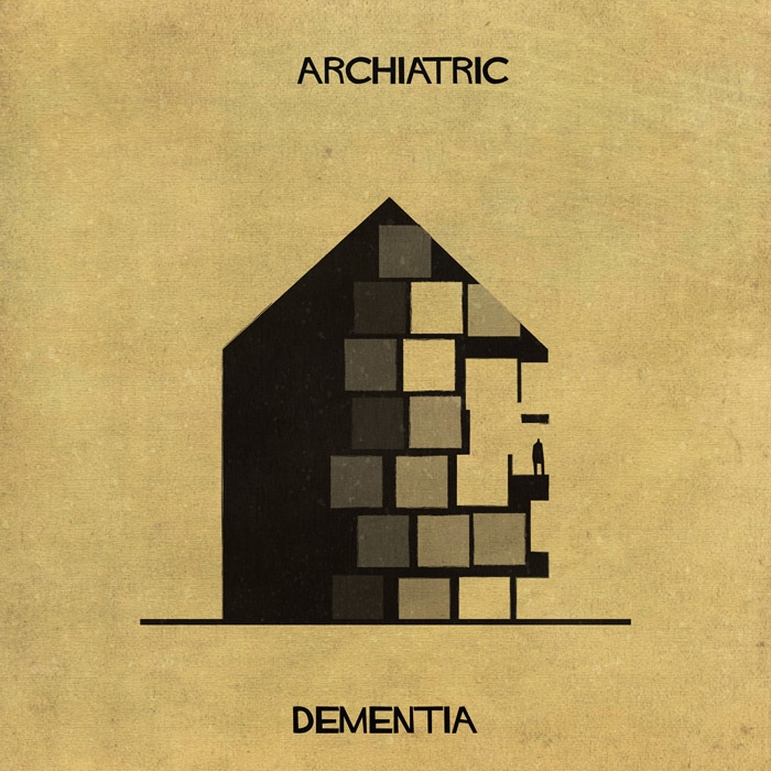 01-Dementia-Federico-Babina-ARCHIATRIC-Mental-Health-Illustrations-Paired-with-Architecture-www-designstack-co
