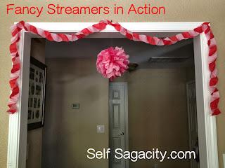 paper streamer garland hung on door way