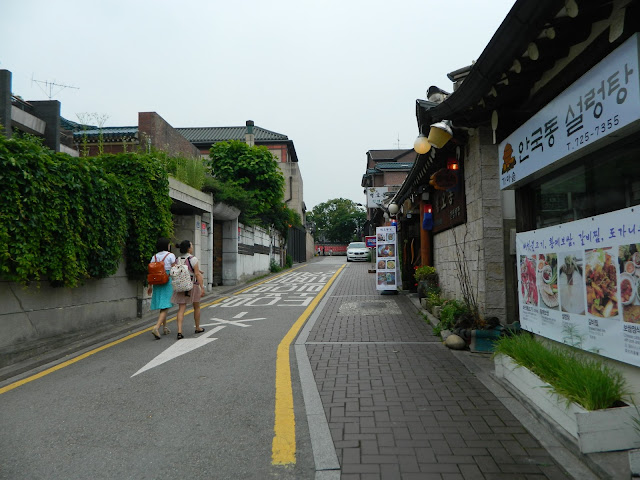 Pretty streets, with no traffic. Just good food and beautiful flowers and plants around!