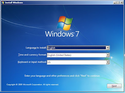 proses installasi windows 7