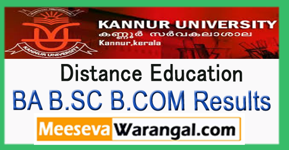 Kannur University Distance Education BA B.SC B.COM 1st 2nd 3rd Year Result 2017