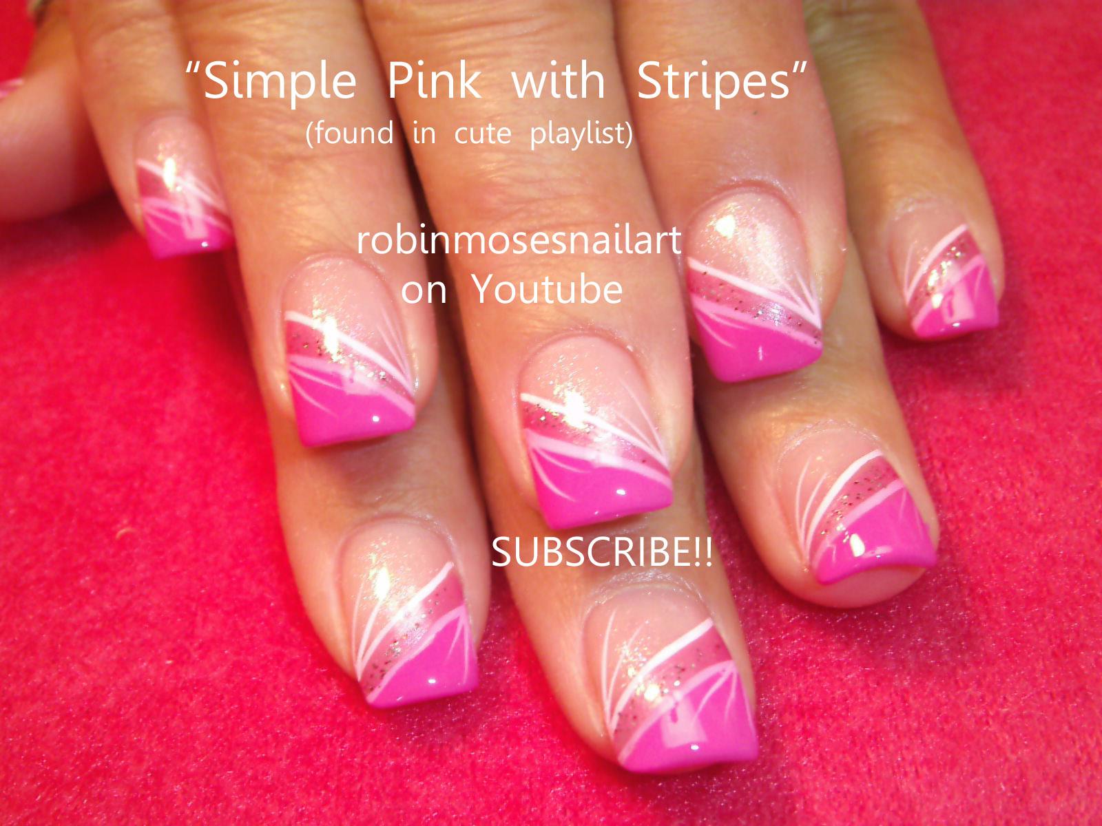 Easy pink Nail Art, Simple pink Nail Art, Pink Stripe Nail