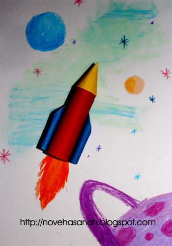 ayo belajar membuat prakarya roket dari kertas bekas. mudah sekali kok. cocok untuk anak SD sekolah dasar