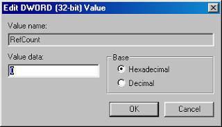 Terlihat ada dua buah folder dengan nama awal S-1-5 dan diikuti nomer panjang dibelakangnya yang sama persis. Namun bedanya, yang satu berakhiran .bak dan yang satu lagi tidak berakhiran .bak. Ubah nama folder tanpa akhiran .bak dengan menambahkan akhiran .bk pada folder tersebut. Ubah nama folder yang berakhiran .bak dengan menghapus akhiran .bak tersebut. Pilih folder tanpa akhiran .bk dan perhatikan panel sebelah kanan. Doubleklik pada RefCount dan ubah value data menjadi 0 (nol).