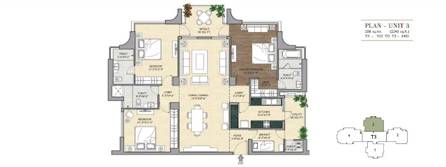 3 BHK - 2240 Sq.Ft. Flat Floor Plan Vipul Aarohan, Sector-53, Gurgaon